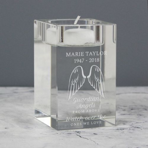 Guardian Angel Wings Glass Tea Light Holder